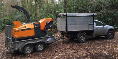 We can provide a woodchipper and operator if you have green waste that needs disposing of, our Forst TR6 Tracked machine is powerful and efficient, and can get almost anywhere conventional wheel machines cannot.  Please ask for a quote or daily rate.