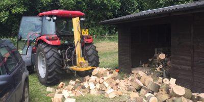 We also offer log splitting service with our large hydraulic tractor mounted log splitter.
